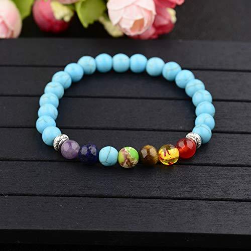 Mikash 7 Chakra Healing Lava Rock Beads Elastic Natural Stone Agate Diffuser Bracelets | Model BRCLT - 7196 |