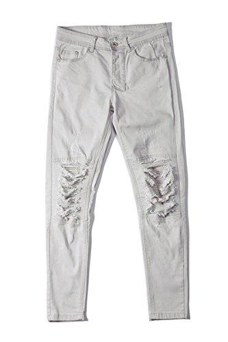 Skinny Slim Da Jeans Casual Fit Bianca Abbigliamento Pantaloni Uomo Vestibilità wx4E8qnv