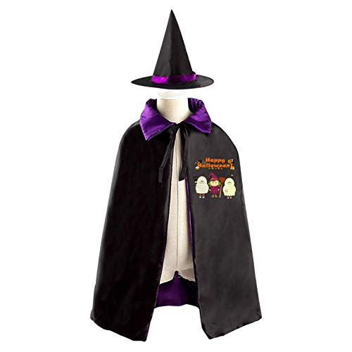 69PF-1 Halloween Cape Matching Witch Hat Naughty Girl Wizard Cloak Masquerade Cosplay Custume Robe Kids/Boy/Girl Gift Purple