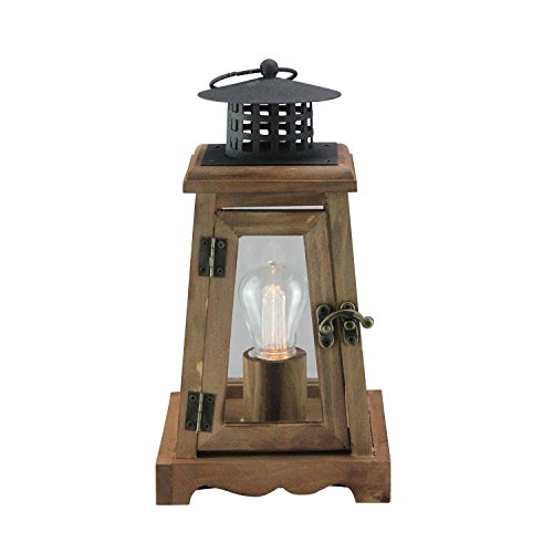 Gerson 10' Brown and Black LED Lighted Trapezoid Hanging Indoor Lantern