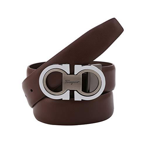 Men's Fashion Comfort Genuine Leather Belt Adjustable Buckle (brown-silver, 27''-49'')