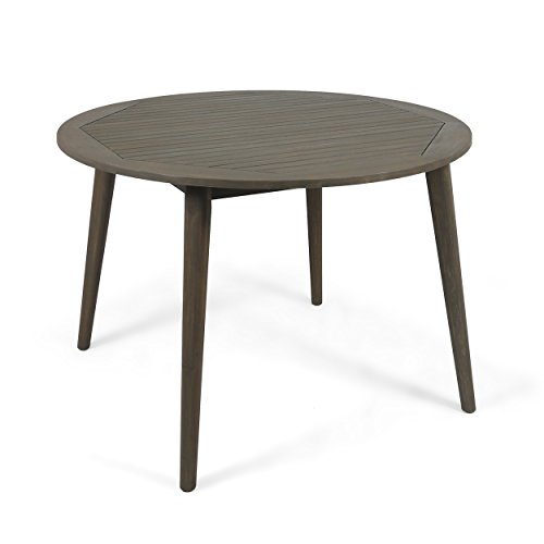 Christopher Knight Home 305154 Nick Outdoor Acacia Wood Round Dining Table, Gray Finish