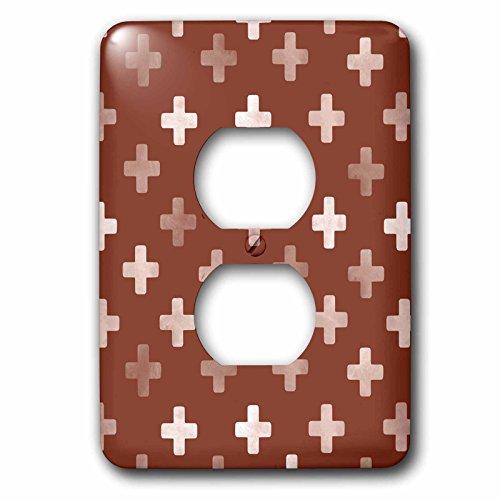 3dRose Lsp_184979_6 - Cubierta para interruptor de luz, diseño de cruz suiza, color café chocolate