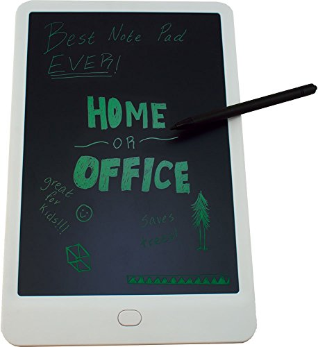 10 inch White LCD Writing Tablets (LCD Writing Pad, Electronic Chalk Board, Magic Slate, Ewriter, E Notepad)(Available in Multiple Colors and Sizes) by Alpen Glow Products