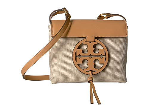 (Tory Burch Miller Leather Canvas Crossbody Handbag in Natural)