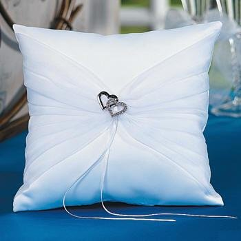 Two Hearts Ring Bearer Pillow Bridal White Satin