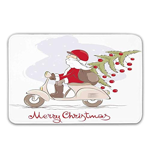(Christmas Front Door Mat,Vintage Print Santa on Motor Bike with Red Helmet Tree Decorations in Snow Doormat for Inside or Outside,23.6