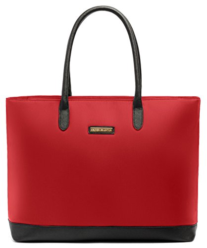 [Archer Brighton Isabel Women's Laptop & Tablet Zip Tote, Women's 15.6 & 17 Inch Business Computer Briefcase Bag with Crossbody, Leather Canvas Organizer Handbag Purse for Work, Travel (Red)] (Brighton Style Tote)