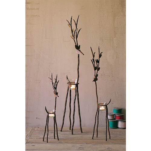 Kalalou Rustic Iron Reindeer Candleholder with One Tealight Holder, Set of 3