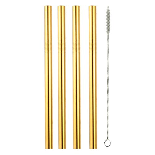Stainless Steel Straws,Reusable Drinking Metal Straws for 20 30 OZ Yeti Tumbler, Water Bottles,Travel Mugs,Cups,Cold Beverage(4 Straight,1 Brushes) (Gold)