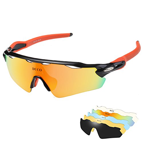 DUCO POLARIZED Sports Sunglasses Cycling Glasses With 5 Interchangeable Lenses 0028 (Orange Lens Safety Glasses)