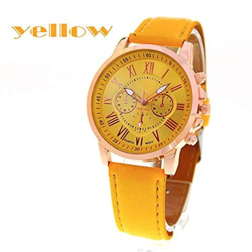- 13 Color Men Women's Sports Watches New Women Quartz Watch Dial Clock Leather Lover Wristwatches Round Case,Yellow