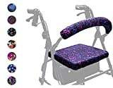 Crutcheze Pink and Purple Paisley Rollator Walker Seat and Backrest Covers Designer Fashion Accessories Made in USA