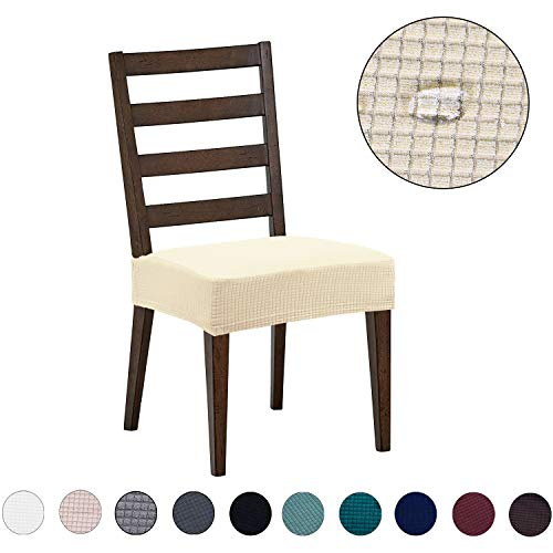 Dining Room Chair Covers(6 Pack) - Water Repellent,Easy to Install,High Stretch - Dining Room Chair Seat Slipcover/Protector/Shield for Dog Cat Pets,Beige (Sofa Dining Room Chairs)