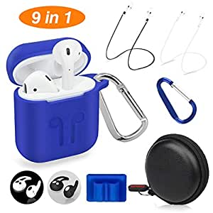Cuauco AirPods Case Protective Silicone Cover with 2 Anti-Lost Airpods Strap/2 Pairs of Ear Hooks/2 Carabiner/1 Airpods Watch Band Holder/1 Headphone Case for Apple Airpods Accessories (9 Pack)-(Blue)