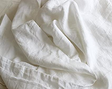 Pure Linen Bed Sheet Set Flat Sheet And Pillowcases (White Fitted Sheet)