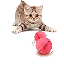 YOFUN Interactive Cat Toy 360 Degree Self Rotating Ball Automatic Light Toy for Pet, Batteries Included, Plus Extra Batteries, Pink