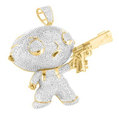 Famous lab diamond baby cartoon character with gun pendant in 14k famous lab diamond baby cartoon character with gun pendant in 14k gold finish aloadofball Choice Image