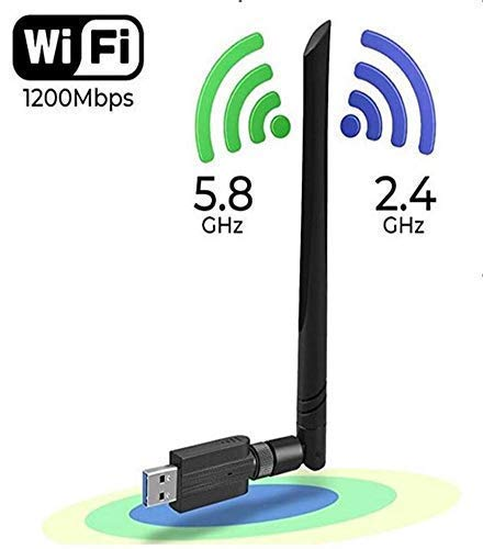 (Wireless WiFi Adapter 1200Mbps USB3.0 WiFi Dongle 2.4G/5G 802.11ac Network Adapter with High Gain Antenna for Desktop Laptop PC Support Windows XP/10/8/8.1/7/Vista/2000,Mac 10.4-10.13)