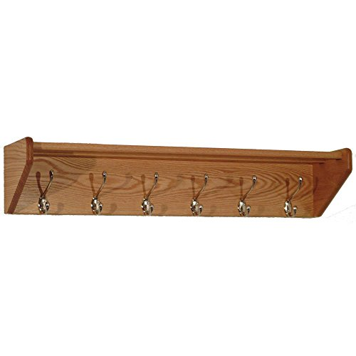 Wooden Mallet 37-Inch 6-Nickel Hook Shelf, Light Oak