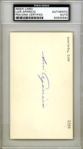 Luis Aparicio Autographed Signed 3x5 Index Card Chicago White Sox #83935582 PSA/DNA Certified MLB Cut Signatures