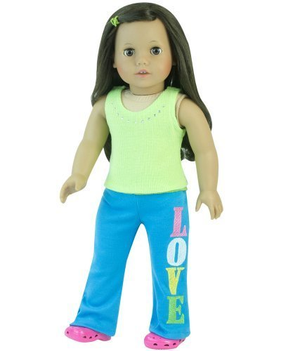 Sophia's 18 Inch Doll Outfit Yoga 2 Pc Set Fits American Girl Doll Clothes & More! Popular Rhinestone Lime Green Tank Top & Teal Blue Embroidered LOVE ()