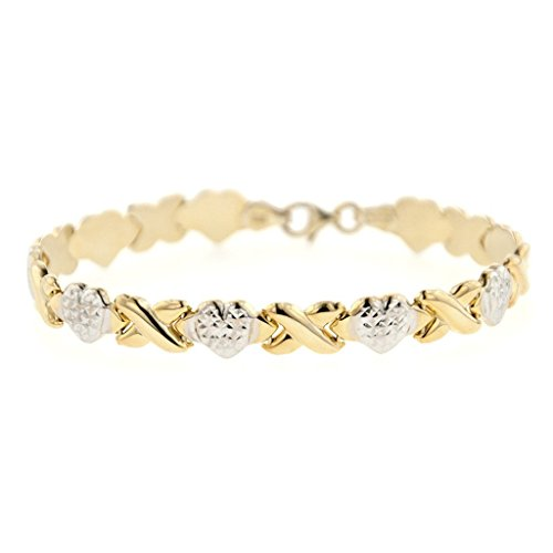 MCS Jewelry Sterling Silver Two Tone Stampato XOXO Friendship and Relationship Chain (Gold Womens Stampato Bracelet)
