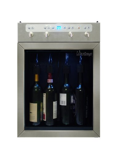 (Vinotemp VT-WINEDISP4SS 4-Bottle Stainless Wine Dispenser with Custom Portion Control, Blue LED and Tempurature Display for Home and Commercial use)