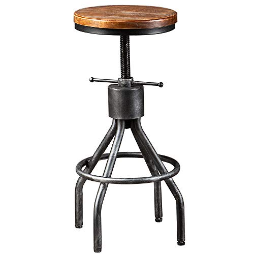 BOKKOLIK Industrial Bar Stool Swivel Kitchen Island Dining Chair Counter Height Adjsutable 22-30inch ...