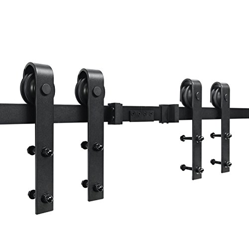 SMARTSTANDARD 16ft Double Door Sliding Barn Door Hardware (Black) (J Shape Hangers) (2 x8 foot Rail) by SMARTSTANDARD