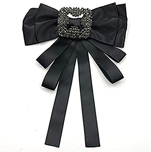 - Ribbon Crystal Pre-Tied Neck Tie Brooch Pin Bow Tie Patriotic Collar Jewelry Giftbow tie (Black)
