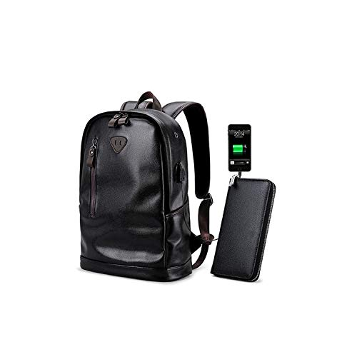 Men Backpack External USB Charge Waterproof Pu Leather Travel School Bag Leather Bookbag,5775 Backpack Wallet ()