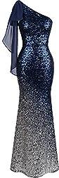 Women's Asymmetric Ribbon Sequin Long Mermaid Dress