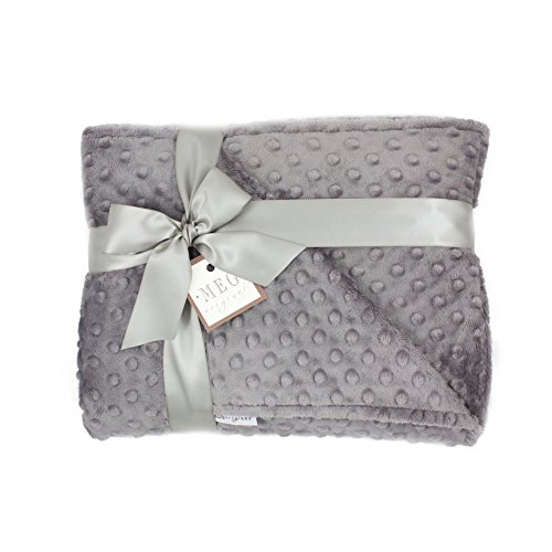 Chenille Bib Burp Cloth (MEG Original Minky Dot Crib/Toddler Bed Baby Blanket, Double-sided Charcoal 670)