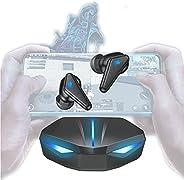 Fone de Ouvido Bluetooth para Jogos JINQII, Fone sem fio Gamer Com Luz de Respiração Colorida, Game| Music Dua