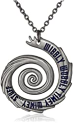 """Doctor Who 22"""" Wibbly Wobbly Timey Wimey Pendant Necklace (Silver-Tone)"""