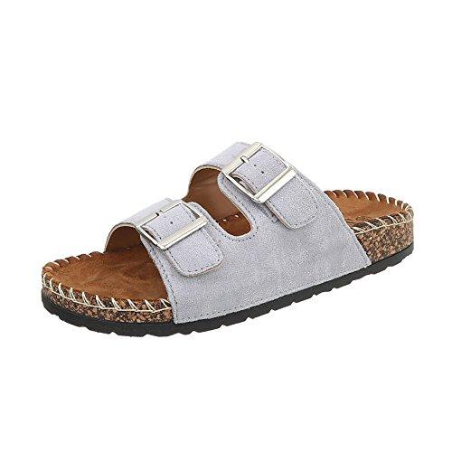 Flat Mules Light Ital CK01 at Women's Grey Design Sandals qwItIF7