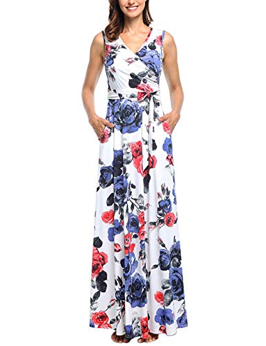 (Floral Dresses for Women, Petite Summer Sleeveless Maxi Dresses Boho V Neck Jersey Casual Business Work Office Flowying Long Floral Dress)