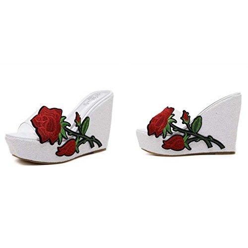 SHEO sandalias de tacón alto Señoras europeas y americanas sueltan zapatos transparentes transparentes zapatillas Blanco