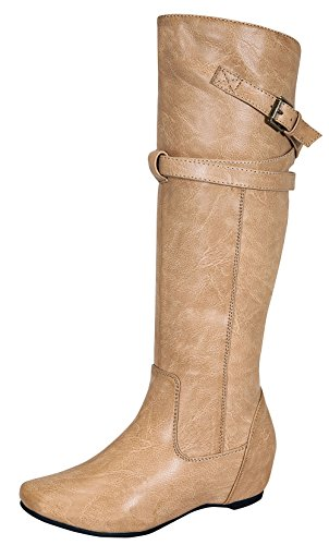 Amar-65 Women's Zipper Knee High Dressy Riding Boot with Casual Buckle Straps Nude 8