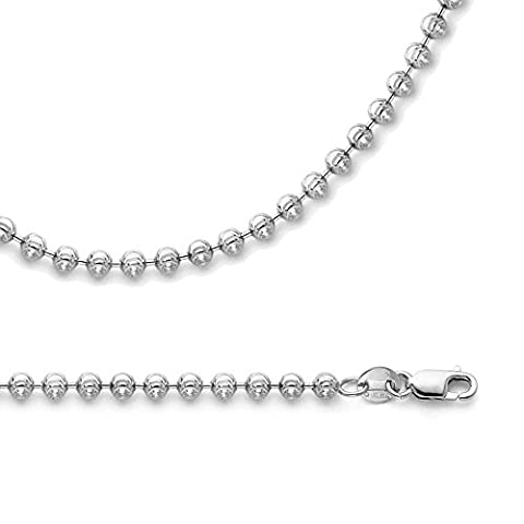 Solid 14k White Gold Chain Ball Necklace Moon Cut Round Beaded Link Polished Genuine, 1.9 mm - 22 (14k White Gold Ball Chain)
