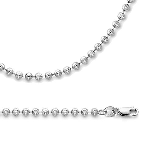 Ball Necklace Solid 14k White Gold Chain Moon Cut Round Beaded Link Polished Genuine 1.9 mm 18 inch -
