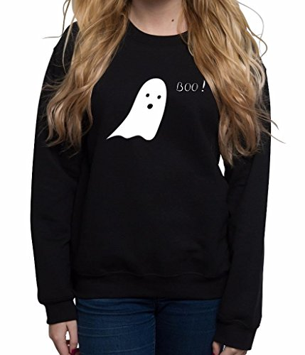 [Crew Neck Jumper Printed Sweatshirt Cute Ghost Boo Sweaters for women] (Make A Last Minute Halloween Costume)