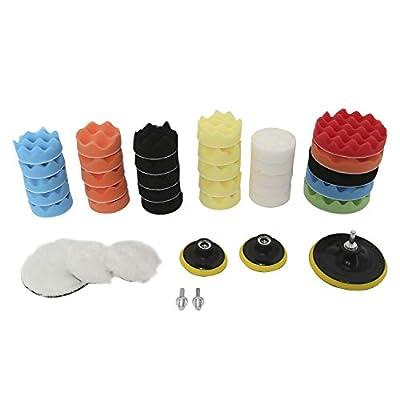 YaeAuto 39pcs Wool and Foam Polishing Pad Kit,Drill Buffing Sponge Pad for Waxing and Polishing: Automotive