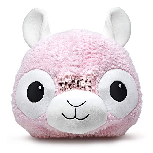 Plush Animal Head Mask Costume | Fun Furry Mascot Head with Mouth Opening (Pink Llama) -
