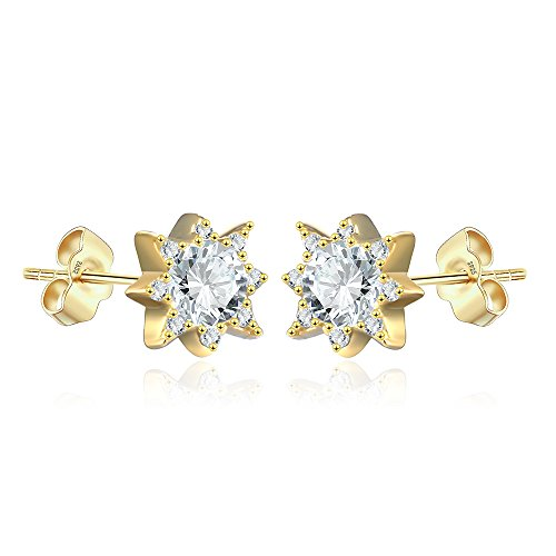 Starburst Stud Earrings for Women in Sterling Silver 925 14K Yellow Gold Finish