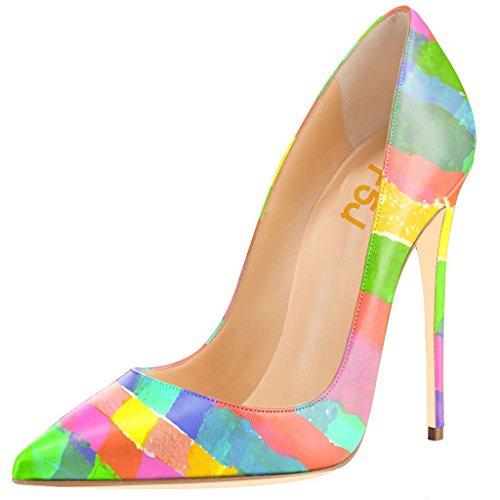 FSJ Women Fashion High Heel Stilettos Pointed Toe Pumps Evening Dress Printed Shoes Size 9 ()