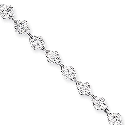 (Black Bow Jewelry Sterling Silver Filigree Swirl Link Anklet, 10 Inch)