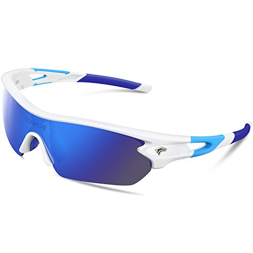 Torege Polarized Sports Sunglasses With 5 Interchangeable Lenes for Men Women Cycling Running Driving Fishing Golf Baseball Glasses TR002 (White&Blue) (Sunglasses Accessories)
