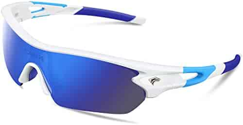 TOREGE Polarized Sports Sunglasses with 5(3) Interchangeable Lenes for Men Women Cycling Running Driving Fishing Golf Baseball Glasses TR002(Upgrade)